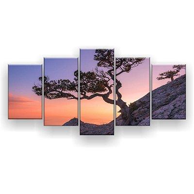 Quadro Decorativo Árvore Céu Laranja 129x61 5pc Sala