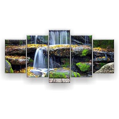 Quadro Decorativo Pedras Cachoeira 129x61 5pc Sala