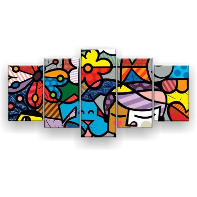 Quadro Decorativo Romero Britto 129x61 5pc Sala