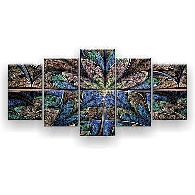 Quadro Decorativo Flor Simétrica Floral Escuro 129x61 5pc Sala