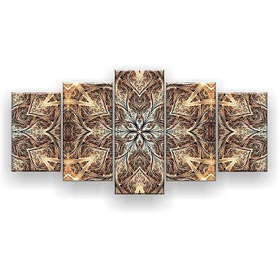 Quadro Decorativo Flor Simétrica Ouro Bege 129x61 5pc Sala