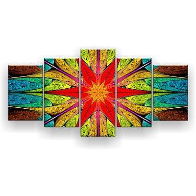 Quadro Decorativo Mandala Vitral 129x61 5pc Sala