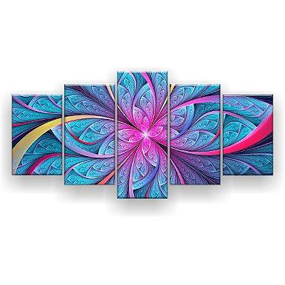 Quadro Decorativo Flor Simétrica Mosaico Ciano 129x61 5pc Sala