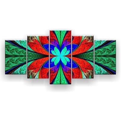 Quadro Decorativo Mandala Vitral Verde Vermelho 129x61 5pc Sala