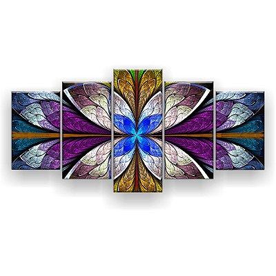Quadro Decorativo Mandala Vitral Azul 129x61 5pc Sala