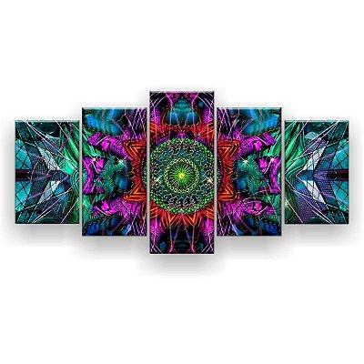 Quadro Decorativo Mandala Trance Psicodélico 129x61 5pc Sala