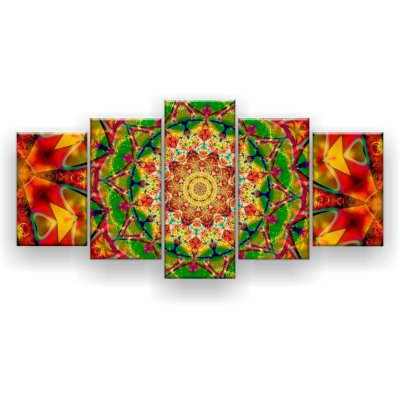 Quadro Decorativo Mandala Laranja Trance Psicodélico 129x61 5pc Sala