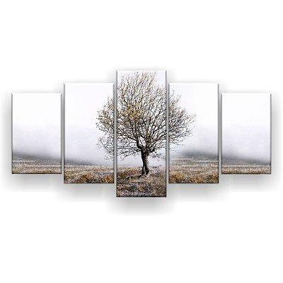 Quadro Decorativo Galhos Secos Nevoeiro 129x61 5pc Sala