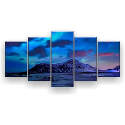 Quadro Decorativo Aurora Boreal Luzes Ilha 129x61 5pc Sala
