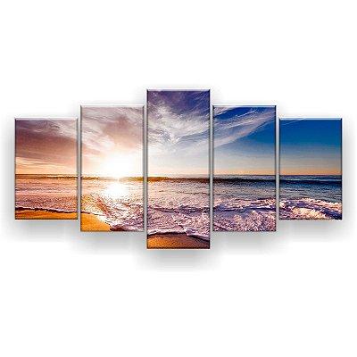 Quadro Decorativo Céu Mar Sol 129x61 5pc Sala