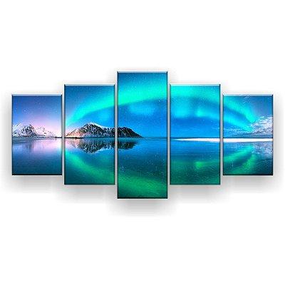 Quadro Decorativo Reflexo Aurora Boreal 129x61 5pc Sala