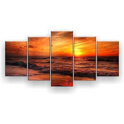Quadro Decorativo Pôr Do Sol No Mar Laranja 129x61 5pc Sala