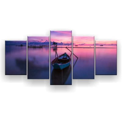 Quadro Decorativo Canoa No Mar 129x61 5pc Sala