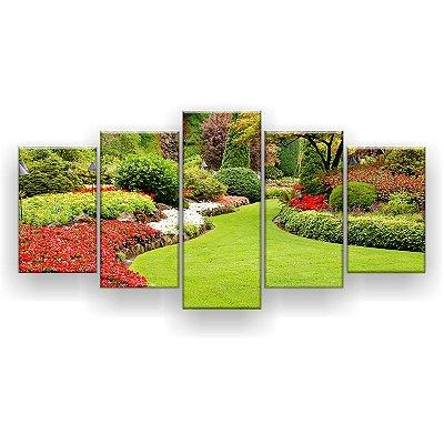Quadro Decorativo Jardim Exuberante 129x61 5pc Sala