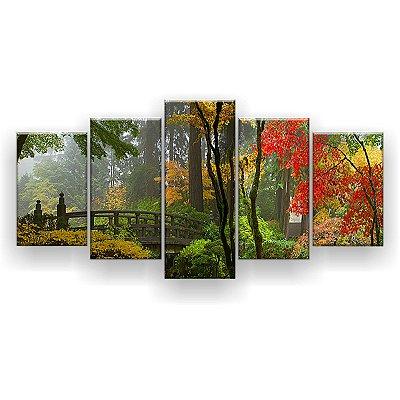 Quadro Decorativo Ponte De Madeira No Jardim Japonês 129x61 5pc Sala