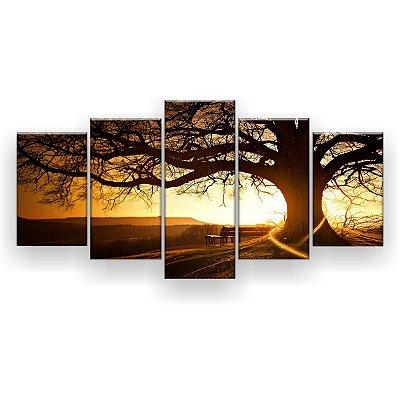 Quadro Decorativo Árvore Centenária Ao Pôr Do Sol 129x61 5pc Sala