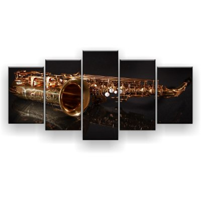 Quadro Decorativo Reflexo Saxofone 129x61 5pc Sala