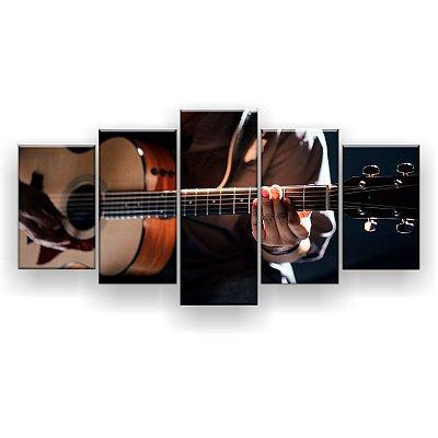Quadro Decorativo Violão Acústico 129x61 5pc Sala