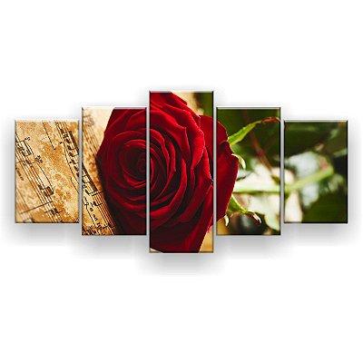 Quadro Decorativo Rosa Vermelha Música 129x61 5pc Sala