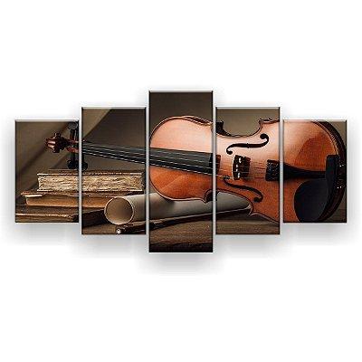 Quadro Decorativo Violino Livros 129x61 5pc Sala