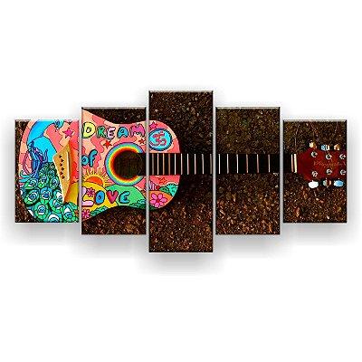 Quadro Decorativo Violão Colorido 129x61 5pc Sala
