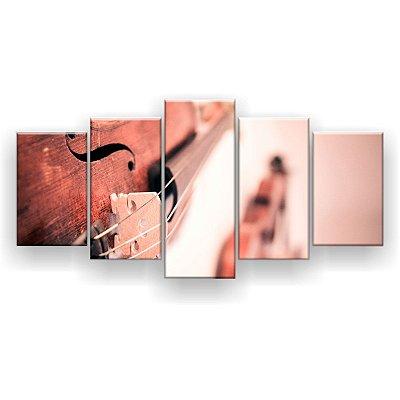 Quadro Decorativo Dois Violinos 129x61 5pc Sala