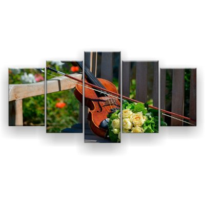 Quadro Decorativo Violino Buquê Rosas 129x61 5pc Sala