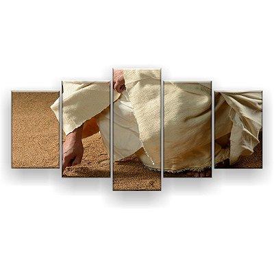 Quadro Decorativo Jesus Escrevendo Na Areia 129x61 5pc Sala
