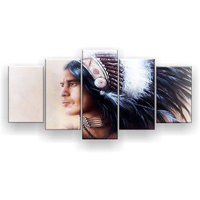 Quadro Decorativo Índio Guerreiro 129x61 5pc Sala