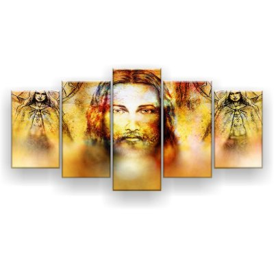 Quadro Decorativo Jesus E Anjos 129x61 5pc Sala