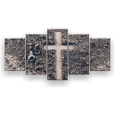 Quadro Decorativo Cruz Nas Cinzas 129x61 5pc Sala