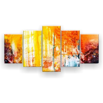 Quadro Decorativo Pintura Abstrata Amarela 129x61 5pc Sala