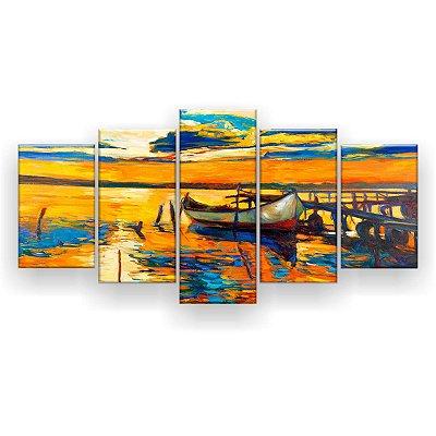 Quadro Decorativo Pintura Barco Na Costa 129x61 5pc Sala