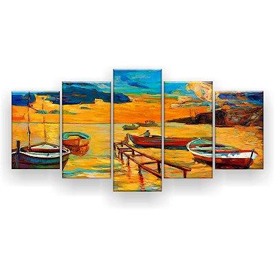 Quadro Decorativo Pintura Quatro Barcos Na Costa 129x61 5pc Sala