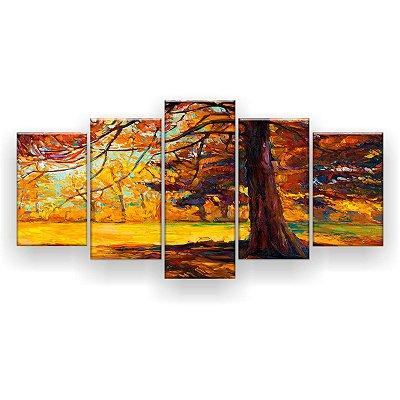 Quadro Decorativo Pintura Árvore Centenária 129x61 5pc Sala