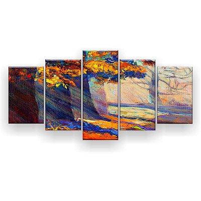 Quadro Decorativo Pintura Pôr Do Sol Outono Floresta 129x61 5pc Sala