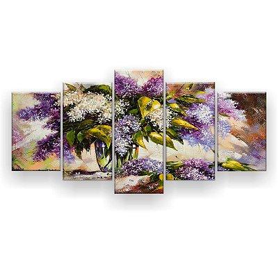 Quadro Decorativo Pintura Vaso Flores Roxas 129x61 5pc Sala