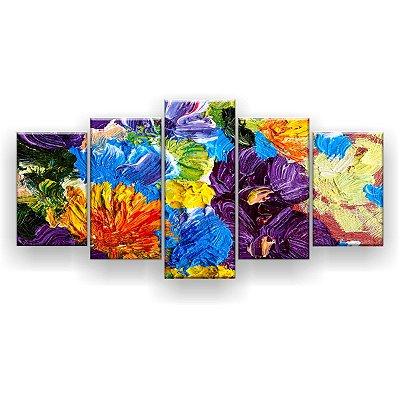 Quadro Decorativo Pintura Flores Coloridas Espessas 129x61 5pc Sala