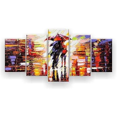 Quadro Decorativo Pintura Casal Na Chuva 129x61 5pc Sala
