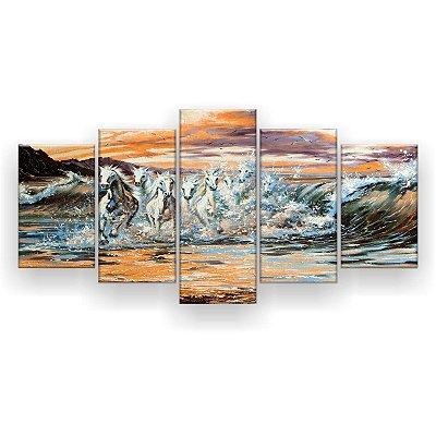 Quadro Decorativo Pintura Cavalos Correndo Mar 129x61 5pc Sala