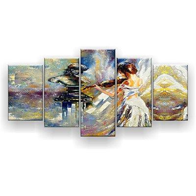Quadro Decorativo Pintura Mulher Violino Estátua 129x61 5pc Sala