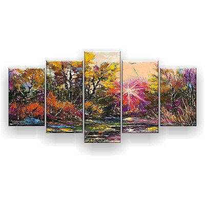 Quadro Decorativo Pintura Luz Encantada Árvores 129x61 5pc Sala