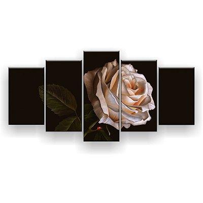 Quadro Decorativo Pintura Rosa Branca Joaninha 129x61 5pc Sala