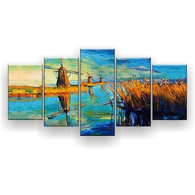 Quadro Decorativo Pintura Moinhos De Vento 129x61 5pc Sala