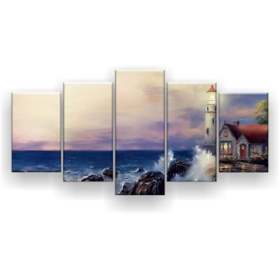 Quadro Decorativo Pintura Farol Do Mar 129x61 5pc Sala