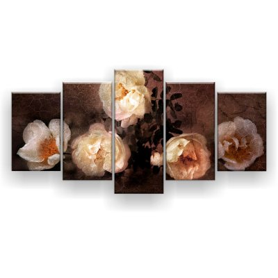 Quadro Decorativo Pintura Rosas Brancas 129x61 5pc Sala