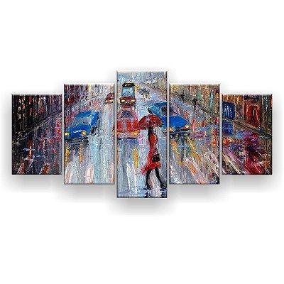 Quadro Decorativo Pintura Menina Guarda-Chuva Cidade 129x61 5pc Sala