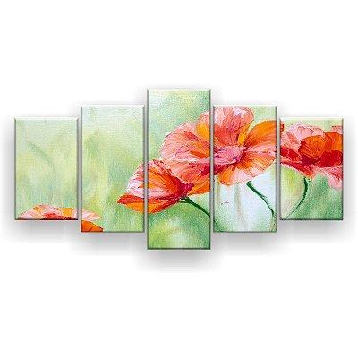 Quadro Decorativo Pintura Flores De Papoula 129x61 5pc Sala