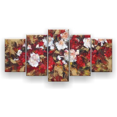 Quadro Decorativo Pintura Rosas Brancas E Vermelhas 129x61 5pc Sala