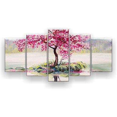 Quadro Decorativo Pintura Árvore De Cerejas 129x61 5pc Sala